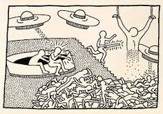 Juxtapoz Magazine - Keith Haring: The Blueprint Drawings @ Pace Prints, NYC Blueprint Drawing, Keith Haring Art, Tv Movie, Modern Pop Art, Aliens And Ufos, Comic, Arte Pop, Metroid, Graffiti Art