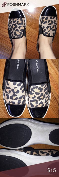 Leopard Loafers Only worn a few times! Super comfortable.  Patent-leather with leopard print. Calvin Klein Shoes Flats & Loafers