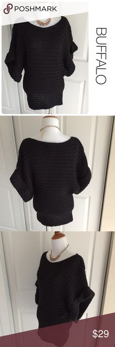 BUFFALO black sweater with batwing sleeves M ♦️Excellent condition. No holes, stains or piling.                                                  ♦️Materials- 80 acrylic/ 20 wool ♦️Measurements:                                  ♦️Laying flat armpit to armpit: approximately 16 inches                                                  ♦️Laying flat from the back of the neck to the bottom of the front hem is approximately 24 inches Buffalo David Bitton Sweaters Crew & Scoop Necks