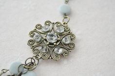 Something Blue Necklace / Rhinestone by SmittenKittenKendall, $34.95