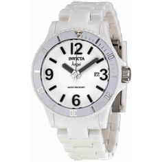Invicta Angel White Messenger Ladies Watch (66 CAD) ❤ liked on Polyvore featuring jewelry, watches, white crown, white dial watches, invicta, snap button jewelry and water resistant watches