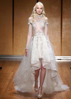 Gorgeous Inbal Dror high low wedding dress: http://www.stylemepretty.com/2016/10/13/bridal-week-fall-2017-wedding-dress-trends/ Courtesy: Inbal Dror - http://inbaldror.com/en