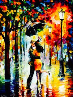 ༻❁༺ ❤️ ༻❁༺ Painting // By Leonid Afremov | 'Dance Under The Rain' | #Lovers #Passion #Love #Couples #Intimacy #OilPainting ༻❁༺ ❤️ ༻❁༺