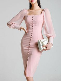f7498c351e Contrast Solid Color Zipper Square Collar Long Puff Sleeves Sheath Dresses