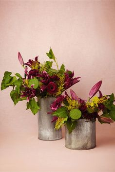 LOVE these gorgeous colors! looove purples and greens! Large Ridged Tin Vases from BHLDN