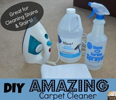 The cleaner is straight ammonia and you just use your iron to steam the stains away.