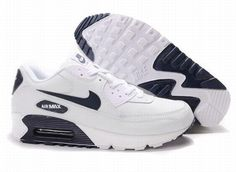 Ken Griffey Shoes Nike Air Max 90 White Navy Blue [Nike Air Max 90 - Signature Nike Air Max 90 White Navy Blue shoes are characterized with simple colors. The synthetic leather upper is white. It helps the entire shoe become durable to wear. Nike Store, Nike Free Shoes, Nike Shoes Outlet, Air Max Classic, Air Max 90 Leather, Nike Free Flyknit, Navy Blue Shoes, Cheap Nike Air Max, Nike Air Huarache