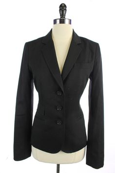 Recycle Your Fashions J. CREW Black WOOL 3 Button BLAZER Suit JACKET Top M 6T