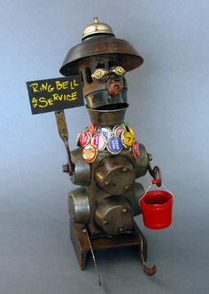 RALPH Found Object Assemblage Sculpture by CastOfCharacters23, $220.00