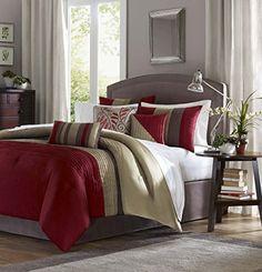 Madison Park Tradewinds 7 Piece Comforter Set, Queen, Red...…