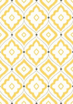 Bungalow #wallpaper in #yellow from the Resort collection. #Thibaut