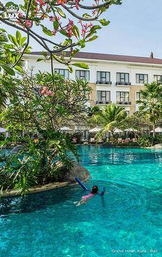 Grand Inna Kuta. Total beachfront Kuta Bali hotel, the Grand Inna is a 4 star hotel. Located on the white sandy beach of Kuta with its beautiful sunsets, Grand Inna Kuta offers direct access to the famous Kuta Beach besides a mere 5 - 10 minute walk to the shopping center and entertainment areas. Only 3 miles from Ngurah Rai International Airport, 6 miles from Denpasar City. #grandinnakuta #balihotel #bali #beachhotel Beach Hotels, Hotels And Resorts, Luxury Hotels, Beautiful Hotels, Beautiful Sunset, Best Of Bali, Bali Retreat, Hotel Hacks, Kuta Beach