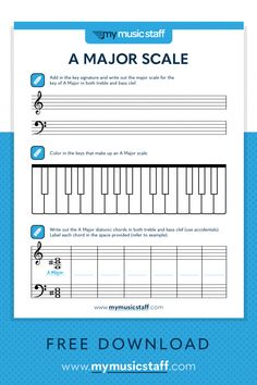 Learning the A Major scale has never been easier! Students get to write the scale and diatonic chords associated with the key of A Major. Whether your students play piano, guitar, strings or any other instruments, this is a great activity for any music student! Music Theory Worksheets, Piano Classes, Piano Scales, Online Music Lessons, Piano Teaching, Learning Piano, Teaching Orchestra, Teaching Art, Major Scale