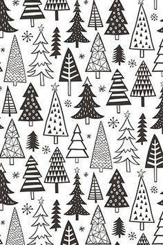Colorful fabrics digitally printed by Spoonflower - Christmas Holiday Forest Trees Black White Christmas Holiday Forest Trees Black White by caja_design - Hand illustrated black and white christmas trees on fabric, wallpaper, and gift wrap Christmas Doodles, Christmas Paper Crafts, Christmas Drawing, Christmas Art, Holiday Crafts, Christmas Holidays, Christmas Decorations, Christmas Tree Zentangle, Christmas Design