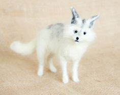 Charlotte the Arctic Fox: Needle felted animal sculpture