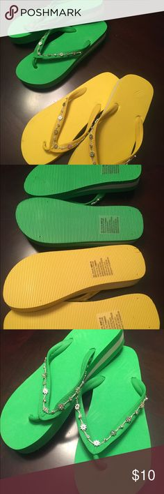 Bundle of Bling Bling Flip Flops Yellow and green flip flops. Jeweled detail on tie strap. White stripe on sole. Never worn. Shoes