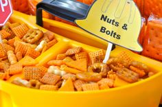 food idea for tool party . an excuse to serve chex mix! Construction Birthday Parties, Construction Party, 4th Birthday Parties, Birthday Fun, Tool Party, Second Birthday Ideas, Lowes Hardware, Party Ideas, Chex Mix
