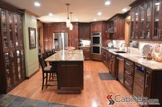 Superieur Large Kitchen Featuring Traditional Style Cabinets. Shown Are Jasper RTA  Hampton Maple Mahogany Cabinets.