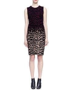 Lanvin Colorblock Leopard-Print Sheath Dress Fall 2015
