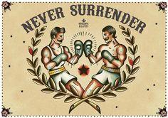 Never Surrender by Susana Alonso Boxer Tattoo Canvas Fine Art Print – moodswingsonthenet