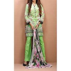 Green Printed Cambric Dress Contact: (702) 751-3523  Email: info@pakrobe.com  Skype: PakRobe