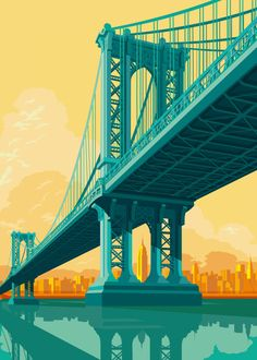 Remko Gap Heemskerk x INPRNT.God, I love these images of New York City by artist Remko Gap Heemskerk, all of which are available as fine art prints in his INPRNT Shop! This is a sponsored post by. Manhattan Bridge, Brooklyn Bridge, Manhattan Nyc, City Illustration, Digital Illustration, City Poster, New York Landmarks, Voyage New York, Poster Print