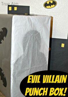 Evil Villain Punch Box.  Cheap alternative to the pinata!  Perfect for a superhero theme!