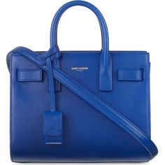 Saint Laurent Sac de Jour mini leather tote (€1.125) ❤ liked on Polyvore featuring bags, handbags, tote bags, purses, ysl, leather tote, blue totes, handbags totes, genuine leather tote and leather handbag tote
