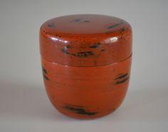 Japanese natsume tea caddy, vermillion urushi lacquerware by StyledinJapan on Etsy