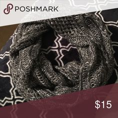 NWOT shimmery infinity scarf ❄️ Gray infinite scarf with silver metallic threads and silver sequins ❄️never worn Accessories Scarves & Wraps