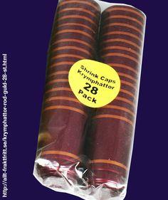 Krymphättor Röd/Guld 28 st. - Röda krympkapsyler - krymphättor - i plast, som man enkelt värmer på flaskan, skyddar korken mot uttorkning och ger ett professionellt utseende.   Krympkapsylerna drar ihop sig vid 90°C, t.ex. när man doppar dem i kokande vatten eller värmer med en varmluftspistol.