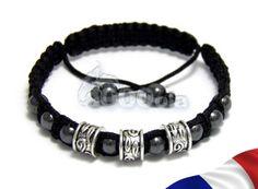 Elégant BRACELET Homme STYLE SHAMBALLA Perles en métal+HEMATITE+fil nylon NOIR