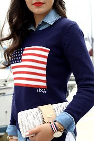 Loving these preppy patriotic details! Perfect for the of July or Memorial Day! cute flag sweater and white wicker clutch for summer evenings - All American 4th Of July Outfits, Preppy Outfits, Classy Outfits, Summer Outfits, Cute Outfits, Preppy Fashion, Fashion Fall, Preppy Wardrobe, Club Fashion