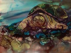 Turtle in alcohol ink by me, Laurie Henry!