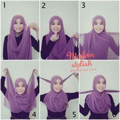 Tutorial for Beginners II – MuslimahSplash 2 hijab style - Hijab Muslim Women Fashion, Islamic Fashion, Hashtag Hijab, How To Wear Hijab, Simple Hijab, Kebaya Simple, Hijab Style Tutorial, Hijab Chic, Beautiful Hijab