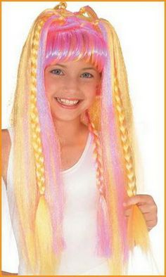 Funky Diva Wig - Costume Accesories *** Read more at the image link. (This is an affiliate link) Curled Bangs, Kids Wigs, Double French Braids, Orange Highlights, Barbie Costume, Play That Funky Music, Halloween Hair, Burgundy Sweater, Platinum Blonde