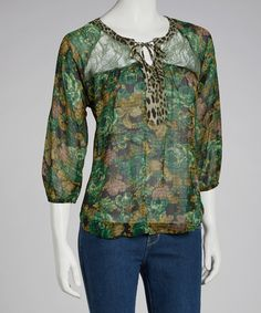 Take a look at this Figueroa & Flower Green Asia Top on zulily today!
