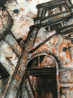 Derelict spaces - The Locarno Building Swindon. Mixed media drawing by L Waddell Little Mermaid Drawings, A Level Art Sketchbook, Art Alevel, Space Artwork, Derelict Buildings, Building Art, Art And Architecture, Architecture Sketchbook, Environmental Art