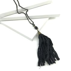 Black Fabric Tassel Necklace