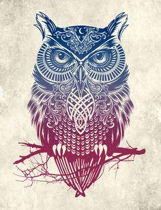 Poster | EVENING WARRIOR OWL von Rachel Caldwell