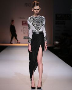 Black & White Gown with Applique Work- Buy Dresses,Malini Ramani,Malini Ramani Wills AW'14 Online   Exclusively.in