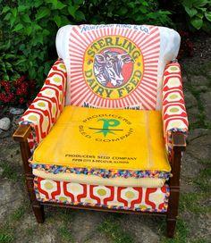 Vintage Grainsack Upholstered Chair. $1,100.00, via Etsy.