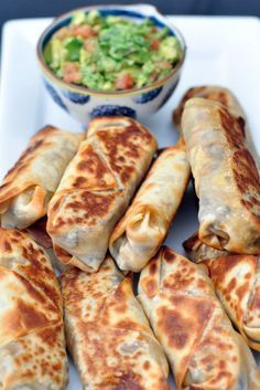 Baked and healthy Southwestern Eggrolls from http://SixSistersStuff.com | These actually get crispy! Can add chicken for extra protein to make a meal your family will love!