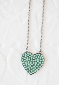 Happy Heart Necklace In Teal