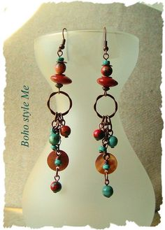 Bohemian Jewelry Turquoise Earrings Boho Cowgirl Rustic