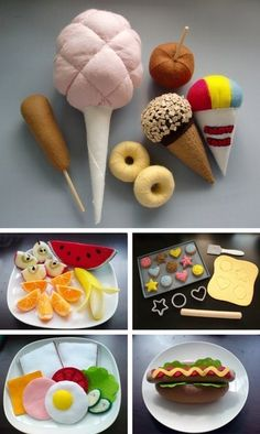 cute felt food crafts--the blog for this link is no longer up and running, but I pinned anyway so I could remind myself to find a website that would help with how to's for this!