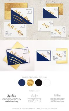 Storybook Romance: Belle & Adam wedding dark glam wedding invitations. #wedding #weddinginvitations #navy #gold #Disney #BeautyandtheBeast