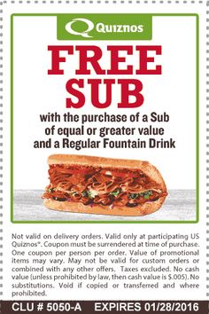 258 best restaurant marketing images on pinterest restaurant quiznos coupon quiznos promo code from the coupons app second sub free at quiznos may fandeluxe Choice Image