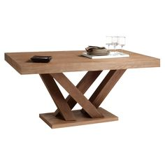 Rectangular dining table with a branching base. Product: Dining tableConstruction Material: Solid oak and oak veneerColor: DriftwoodFeatures: Branching baseDimensions: H x W x DNote: Assembly required Driftwood Dining Table, Pedestal Dining Table, Wooden Dining Tables, Modern Dining Table, Dining Table In Kitchen, Table And Chairs, Small Rectangle Dining Table, Timber Table, Small Dining