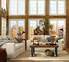 My dream living room... and kitchen space too! #potterybarn